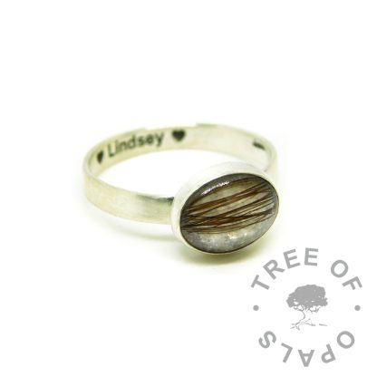 lock of hair ring with unicorn white resin sparkle mix