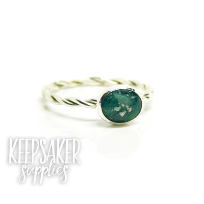 teal ring, Mermaid Teal Resin Sparkle Mix and cremation ashes on twisted wire ring shank