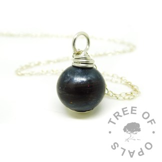 vampire black lock of hair pearl, necklace setting
