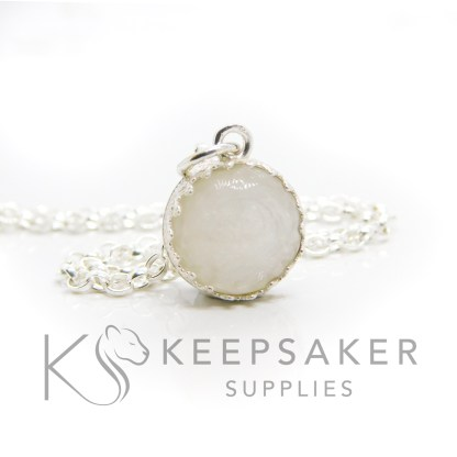 Classic breastmilk small round necklace. Crown point small round setting in solid sterling silver, 925 stamped. Shown with a medium classic chain (not included)
