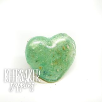 cremation ashes heart angelic aqua resin sparkle mix, 18mm or 16mm heart mould used