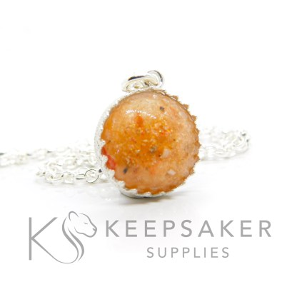 Orange ashes round necklace. Crown point round setting in solid sterling silver, 925 stamped. Tangerine orange resin sparkle mix. Shown with a medium classic chain (not included)