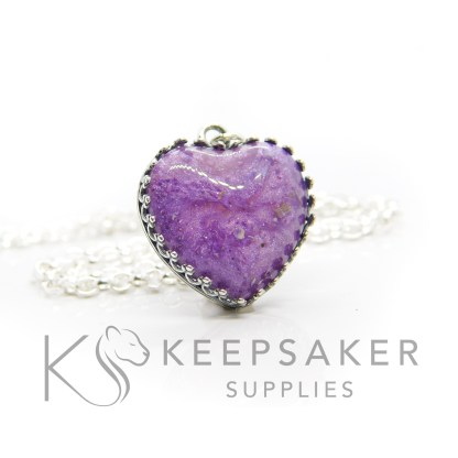 Purple ashes teardrop necklace. Crown point teardrop setting in solid sterling silver, 925 stamped. Orchid purple resin sparkle mix. Shown with a medium classic chain (not included)