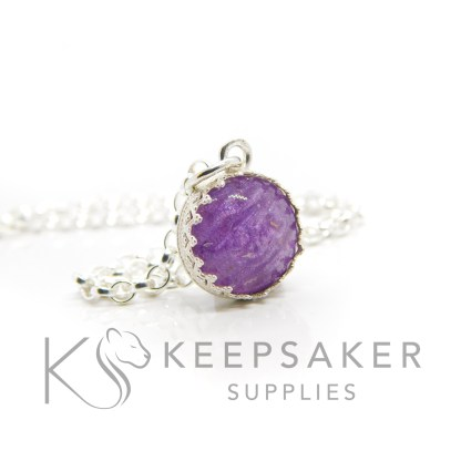 Purple ashes small round necklace. Crown point small round setting in solid sterling silver, 925 stamped. Orchid purple resin sparkle mix. Shown with a medium classic chain (not included)