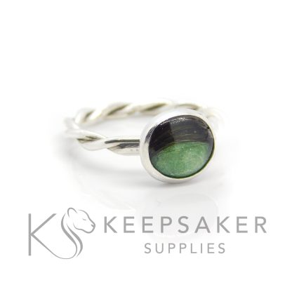 basilisk green hair ring on a twisted band, basilisk green resin sparkle mix