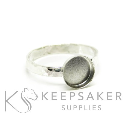 textured band ring in Argentium silver 3mm wide, 8mm cup