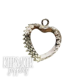 18mm heart setting solid sterling silver