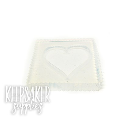large flat heart mould, water clear silicone