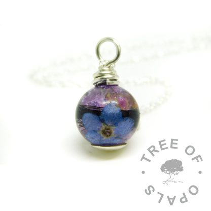 Orchid Purple Resin Sparkle mix orb with necklace and lock of hair necklace. Forget me not and 6mm domed headpin