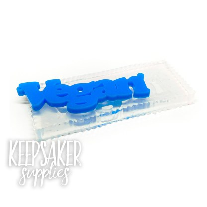 vegan word mould, water clear silicone