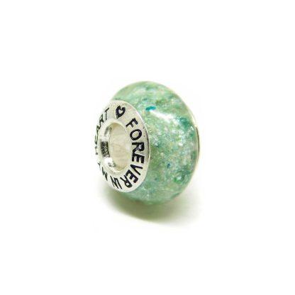 aqua ashes charm bead for Pandora bracelets, angelic aqua resin sparkle mix