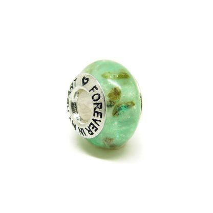 aqua umbilical cord charm bead for Pandora bracelets, angelic aqua resin sparkle mix