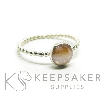 breastmilk bubble ring, classic breastmilk with dark blonde hair and subtle white gold leaf, bubble band ring, 8mm cabochon