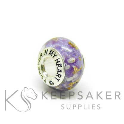 medium bead mould purple ashes bead gold leaf, orchid purple resin sparkle mix, forever in my heart core