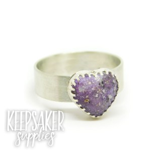 purple ashes heart ring jewellery - orchid purple resin sparkle mix and 6mm wide brushed band. Mockup