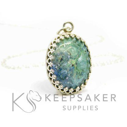 oval necklace blue aqua sparkle mixes, crown points