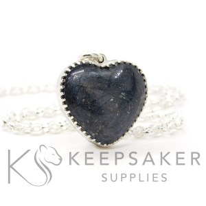 New style heart necklace setting with scalloped edge. Vampire black resin sparkle mix, shown with a medium classic chain upgrade