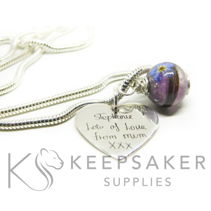 Hair orb with orchid purple and forget me not. Engraved medium heart pendant, handwriting, shown on a medium heavy snake chain