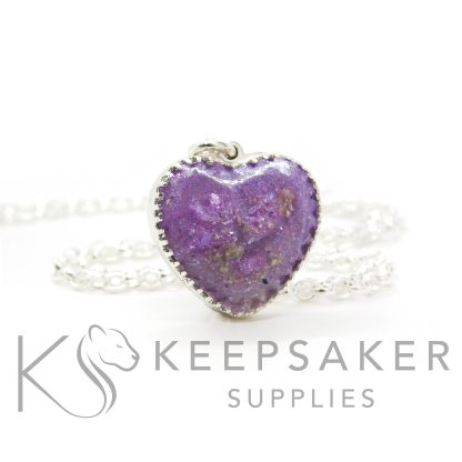 New style heart necklace setting with scalloped edge. Orchid purple resin sparkle mix, umbilical cord, shown with a medium classic chain upgrade (mockup of new setting)