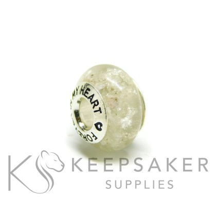 white ashes bead platinum leaf, unicorn white resin sparkle mix, forever in my heart core