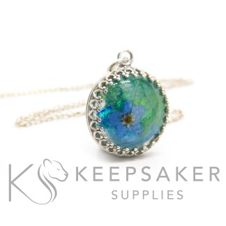 forget me not hair necklace, green blue and teal resin sparkle mixes swirled together