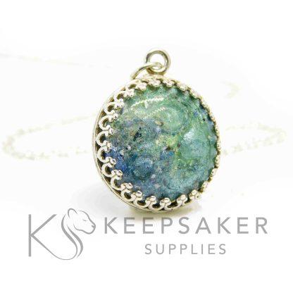 round necklace blue aqua sparkle mixes, crown points