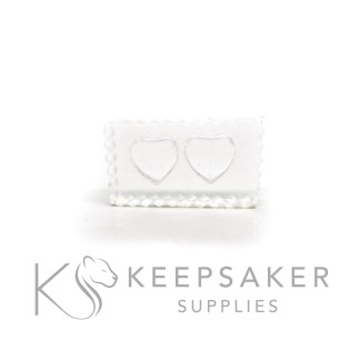 small heart mould, water clear silicone, two depressions for making two hearts 10mm