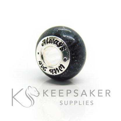always with me cremation ashes bead, black sparkle mix