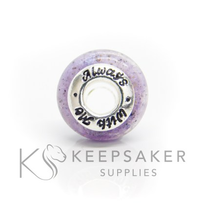 always with me cremation ashes bead, purple sparkle mix