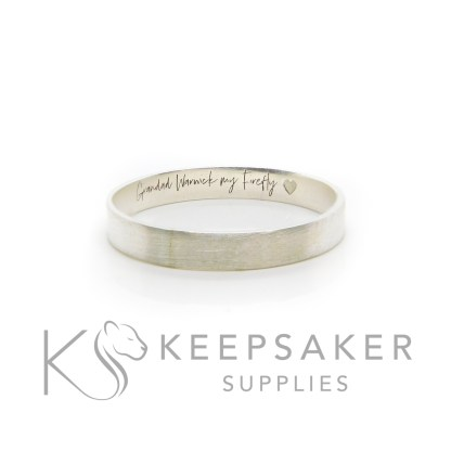 brushed stacking band engraved with silver south script font, heart emoji. 3mm wide Argentium silver band - 935 silver anti-tarnish