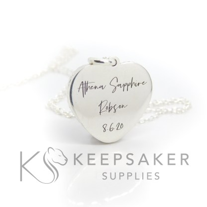 engraved heart necklace, engraved in Silver South Script font