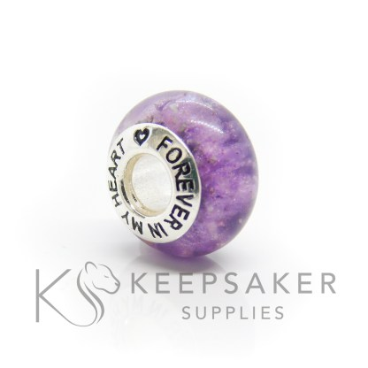 forever in my heart cremation ashes bead, purple sparkle mix