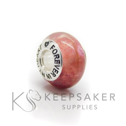 Forever in my heart core bead with blonde hair, red and pink sparkle mixes