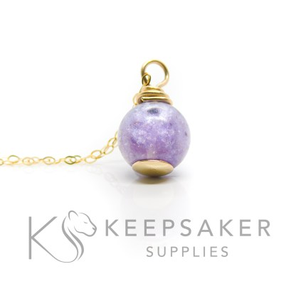 solid gold cremation ashes orb necklace, orchid purple resin sparkle mix. Shown with a simple necklace chain