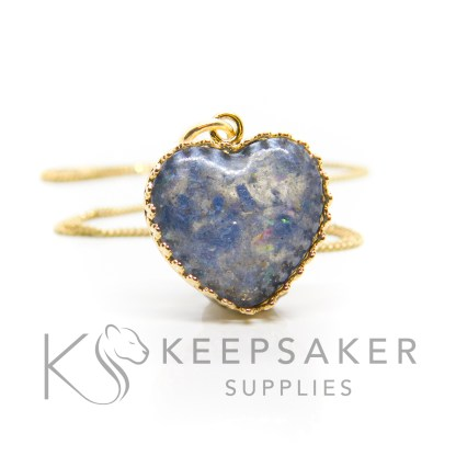 Gold vermeil ashes heart necklace, aegean blue resin sparkle mix. Shown with jump ring and necklace chain