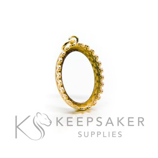 18x13mm medium gold vermeil crown oval setting. 925 stamped solid sterling silver plated with 24ct gold 2.5 microns thick, shown with a jump ring