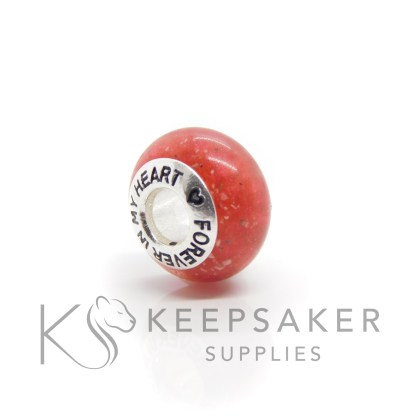 Cremation ashes bead with red sparkle mix, forever in my heart core