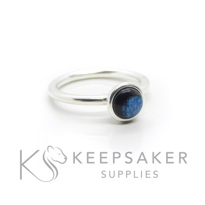 blue hair Ayla Solitaire Ring, brunette hair, clear resin with Aegean blue resin sparkle mix made into a cabochon (stone) and set into the ring with glue. Cast Argentium 935 anti-tarnish silver (higher purity than sterling)
