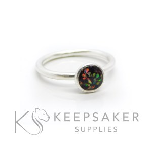 opal cord Ayla Solitaire Ring, umbilical cord, clear resin and synthetic crushed opal. Cast Argentium 935 anti-tarnish silver (higher purity than sterling)