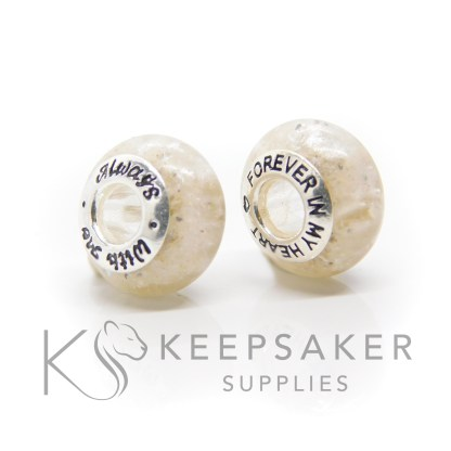 ashes and white bead duo, cremation ashes and unicorn white resin sparkle mix, Pandora style bead core