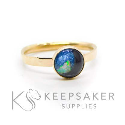solid 14ct gold hallmarked lock of hair ring, textured band with Aegean blue resin sparkle mix and genuine opal slices. 8mm round smooth bezel setting