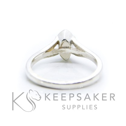 Hannah Marquise ring, solid 935 purity Argentium silver, cast by hand in Scotland. Tri split shank band, engravable on the inside. 8x4mm marquise setting for filling or fitting a cabochon