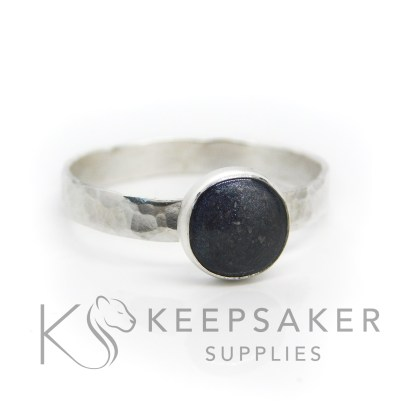 black ashes textured ring, cremation ashes and vampire black resin sparkle mix. 3mm wide band ring (textured) and 8mm round cabochon