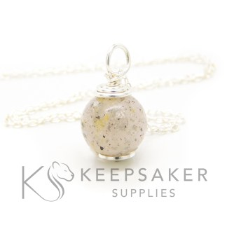silver orb necklace kit breastmilk cord orb, breastmilk and two babies' umbilical cords, platinum leaf for 18 month breastfeeding awards (platinum boobies). No colour or shimmer added, 11mm sphere with hand wire wrapped setting shown with chain