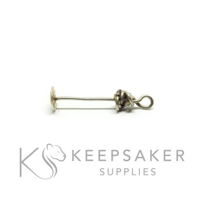 solid silver 6mm domed headpin for setting pearls, orbs and spheres - shown wire wrapped (without the sphere)