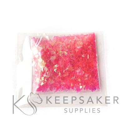 opal bubblegum pink opalescent flakes, mylar iridescent shards for making keepsake, memorial and breastmilk jewellery