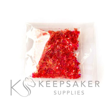 opal copper red opalescent flakes, mylar iridescent shards for making keepsake, memorial and breastmilk jewellery