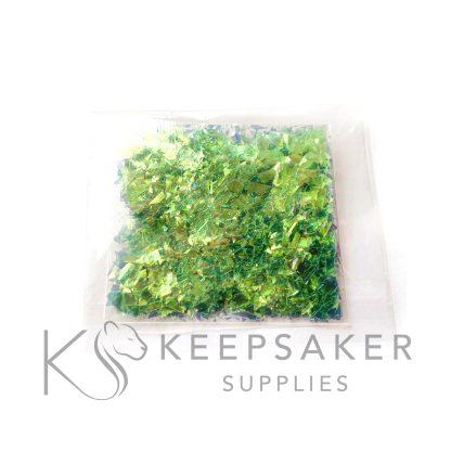 opal parakeet green opalescent flakes, mylar iridescent shards for making keepsake, memorial and breastmilk jewellery