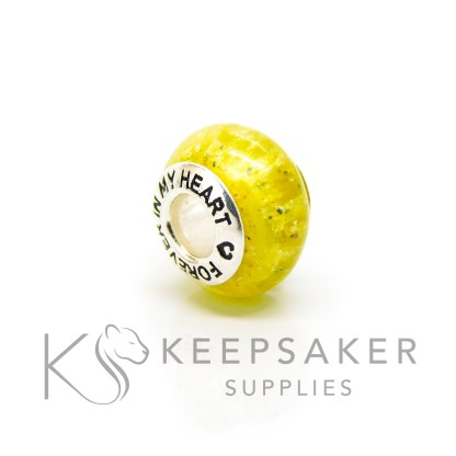 yellow cremation ashes bead, Forever In My Heart bead core with chimera yellow resin sparkle mix crematory ash charm