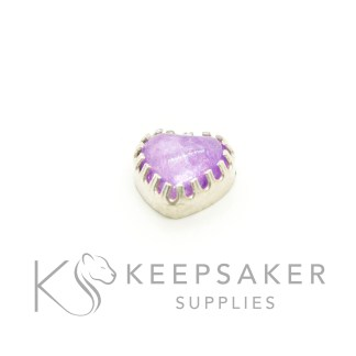 10mm cast heart setting open backed in solid silver, with loop and jump ring, shown with orchid purple ashes cabochon
